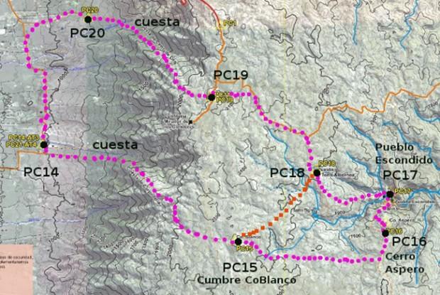 Mapa de cabalgatas en la Sierra de los Comechingones